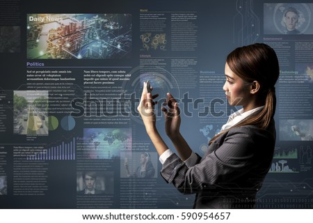 smart phone news application concept, curation media