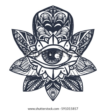 Vintage All Seeing Eye in Mandala Lotus. Providence magic symbol for print, tattoo, coloring book,fabric, t-shirt, cloth in boho style. Astrology, occult, esoteric insight sign with eye. Vector #591015857