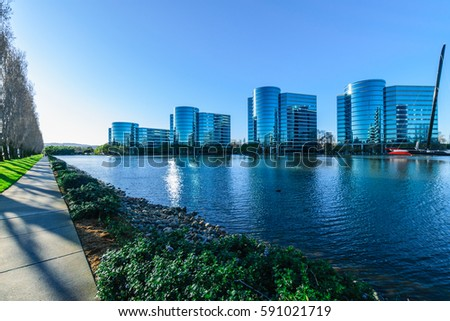 Modern Business Architecture. Silicon Valley, Redwood City, California, United States.  #591021719