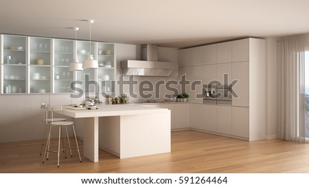 Classic minimal white kitchen with parquet floor, modern interior design, 3d illustration #591264464