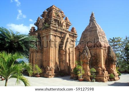 Brick cham towers in Nha Trang, Vietnam Royalty-Free Stock Photo #59127598