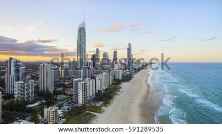 GOLD COAST, AUSTRALIA - FEBRUARY 16 2017: Aerial view of sunset over Surfers Paradise and beach with Q1 and Soul buildings. Gold Coast Australia #591289535