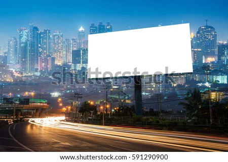 Double exposure of blank billboard for business advertisement with city background at twilight  #591290900