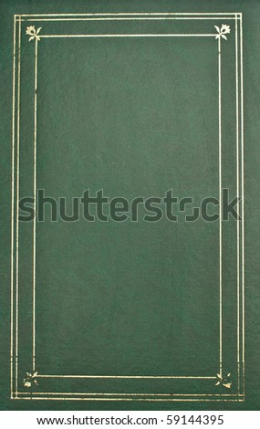 Photo album cover-green leather with gold trim Royalty-Free Stock Photo #59144395