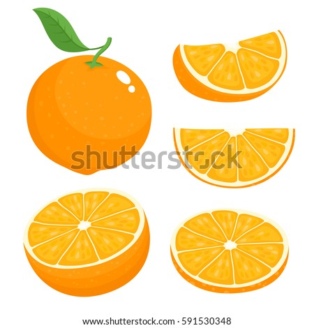 Bright vector set of colorful half, slice and segment of juicy orange. Fresh cartoon oranges on white background. #591530348