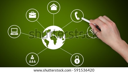 Digital composite image of hand drawing business graphic icon on green chalkboard #591536420