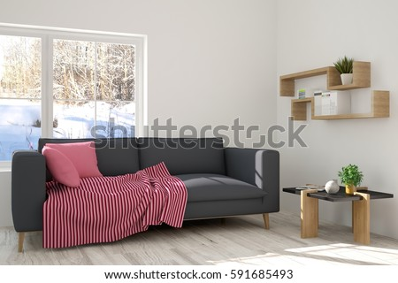 White room with sofa and winter landscape in window. Scandinavian interior design. 3D illustration #591685493