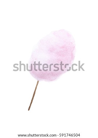 Cotton candy. Sugar clouds - watercolor painting on white background  #591746504
