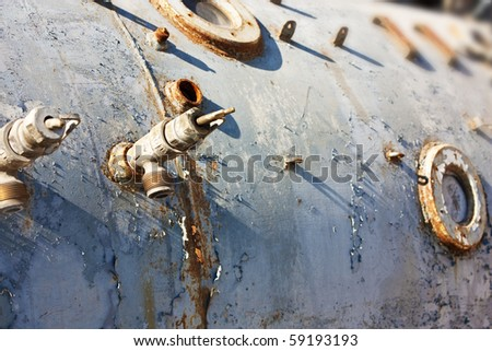 rusty old bathyscaphe with windows as background #59193193