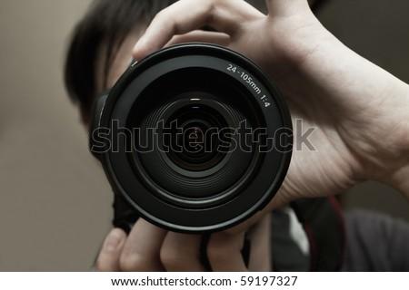Men's hands held camera closeup #59197327