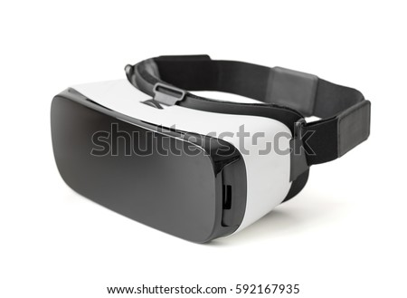 Virtual reality glasses on white background Royalty-Free Stock Photo #592167935