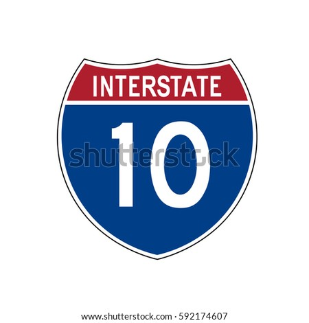 Interstate highway 10 road sign