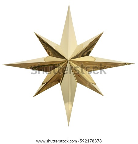 Christmas gold star isolated on white background. This has clipping path. #592178378