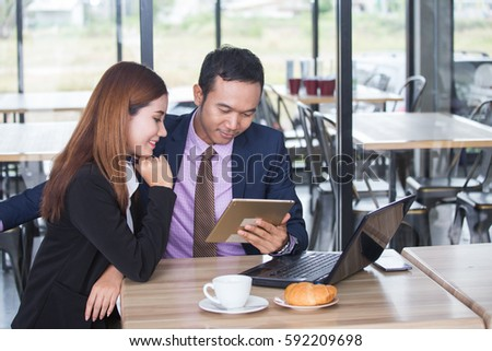 Asia business people or businessman and businesswoman working, Protrait business concept. #592209698