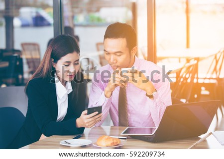 Asia business people or businessman and businesswoman working, Protrait business concept, vintage color tone. #592209734