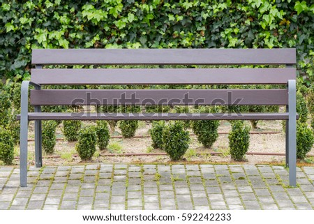 view on a wooden bench in the park #592242233