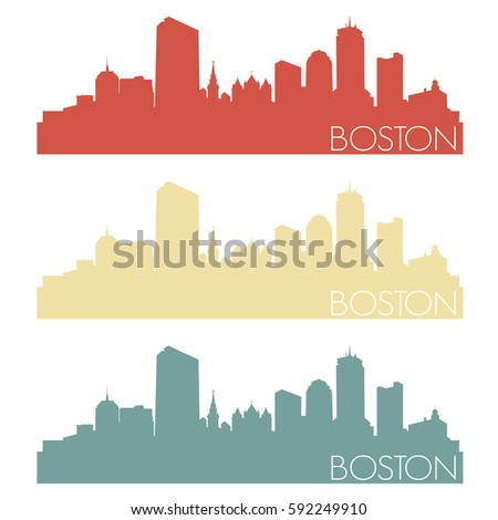 Boston Skyline Silhouette City Design Vector Color Set Vintage