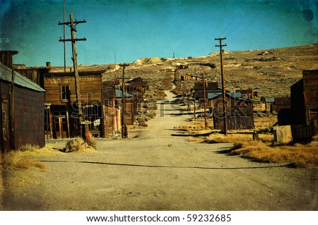 wild west ghost gold town. grunge old ghost town western usa. bodie national historic park in California america. western american town in depression and ruin.  Royalty-Free Stock Photo #59232685