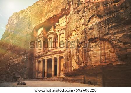 Al Khazneh - the treasury, ancient city of Petra by night, Jordan #592408220