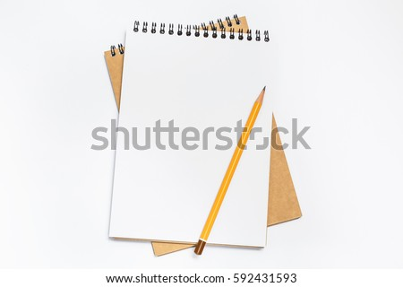 School notebook with pencil on table Royalty-Free Stock Photo #592431593