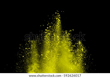 abstract color powder splatted on black background,Freeze motion of color powder exploding/throwing color powder, multicolored glitter texture. #592626017