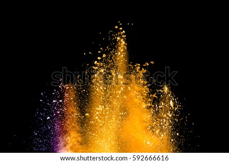 abstract multicolored powder splatted on black background,Freeze motion of color powder exploding or throwing color powder, multicolored glitter texture. #592666616