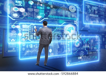 Businessman searching for big data #592866884