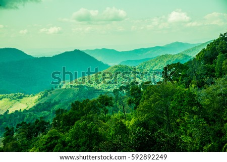 Mountain view at Chiangrai province, Thailand. #592892249