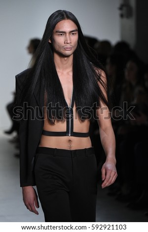 NEW YORK, NY - FEBRUARY 10: A model walks the runway for Hakan Akkaya collection during, New York Fashion Week  on February 10, 2017 in New York City. #592921103