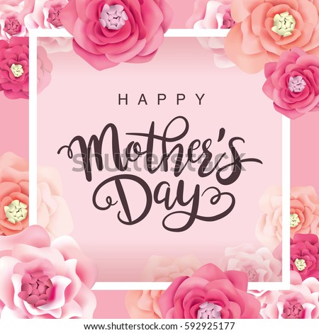 Mother's day greeting card with flowers background Royalty-Free Stock Photo #592925177
