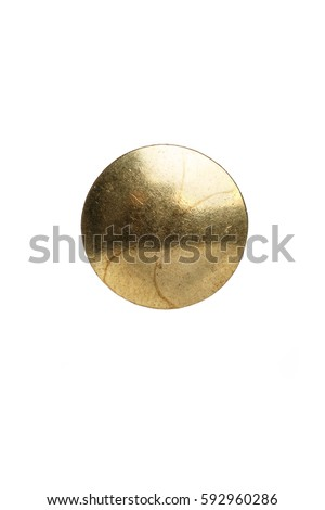 Thumb Tack / Push Pin head with a white background  Royalty-Free Stock Photo #592960286