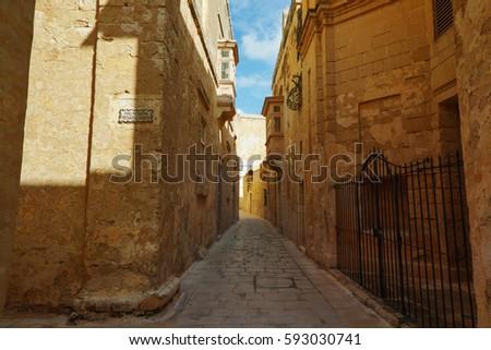 A view of old Mdina street Malta. #593030741