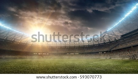 soccer stadium with tribune Royalty-Free Stock Photo #593070773
