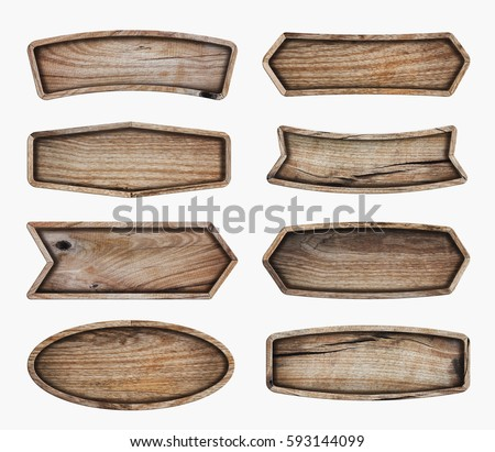 Wooden signboard isolated on white background