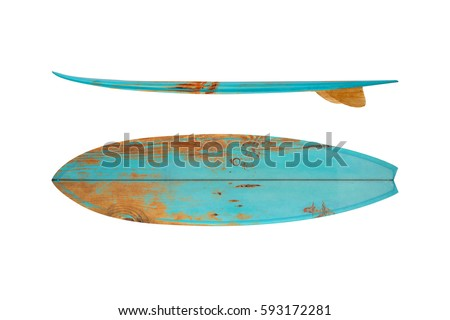 Vintage surfboard isolated on white - Retro styles 60's  #593172281
