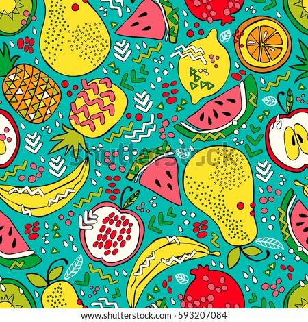 Bright summer fruit: watermelon, kiwi, apple, pear, orange, lemon, pomegranate, pineapple, banana. Seamless vector pattern (background). Fruit print. #593207084