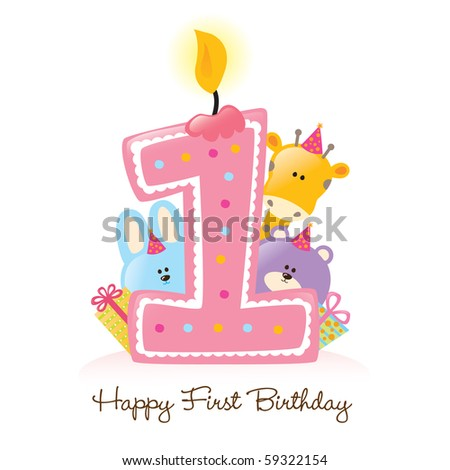 Jpeg Happy First Birthday Candle and Animals Isolated