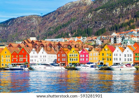 BERGEN, NORWAY - 4 March, 2017: Bryggen district - Tourist attraction and Unesco World Heritage site with old wooden buildings. Bergen. Norway.  #593281901