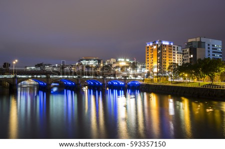 glasgow at night. river clyde #593357150