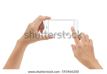 hand holding phone mobile and touching screen isolated on white background clipping path inside