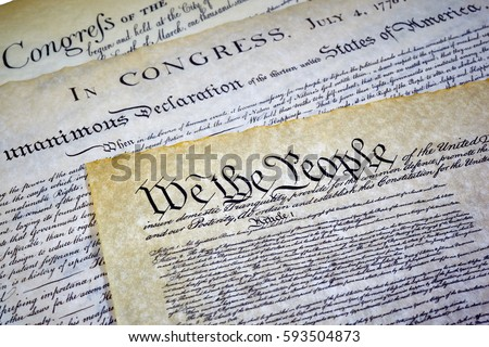 Close up of Constitution of the United States of America with the Declaration of Independence and Bill of Rights #593504873