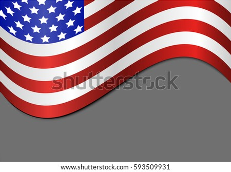 Wavy American flag on a gray background with shadow - vector illustration #593509931
