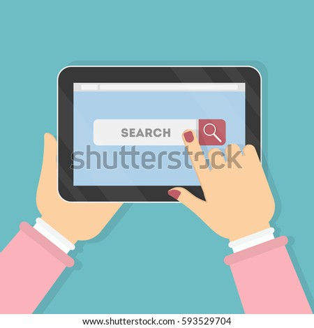Hands holding tablet with search bar. Surfing the internet. Web interface. #593529704