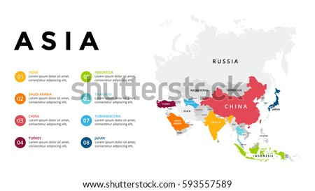 Asia map infographic. Slide presentation. Global business marketing concept. Color country. World transportation data. Economic statistic template. Royalty-Free Stock Photo #593557589