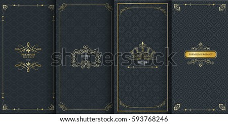 Collection of design elements, labels,icon and frames for packaging and design of luxury products.Made with golden foil Isolated on black background. vector illustration Royalty-Free Stock Photo #593768246
