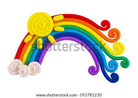 Plasticine rainbow isolated on white background