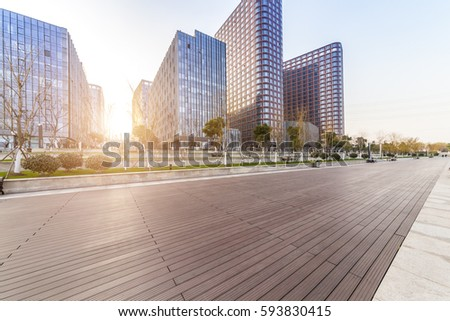 Empty floor with modern business office building  #593830415