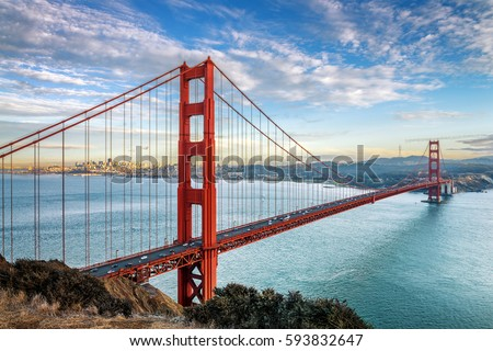 famous Golden Gate Bridge, San Francisco at night, USA #593832647