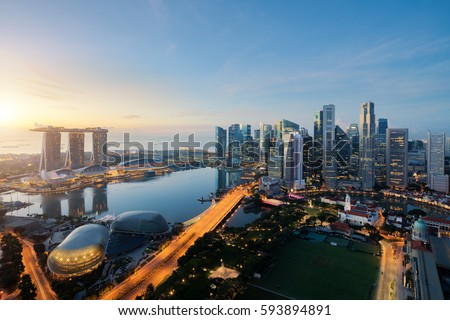 Aerial view of Singapore business district and city at twilight in Singapore, Asia #593894891