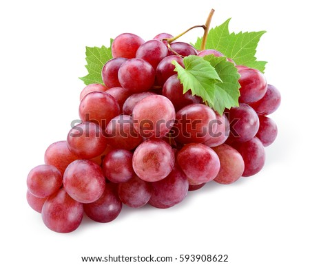 Ripe red grape. Pink bunch with leaves isolated on white. With clipping path. Full depth of field. #593908622